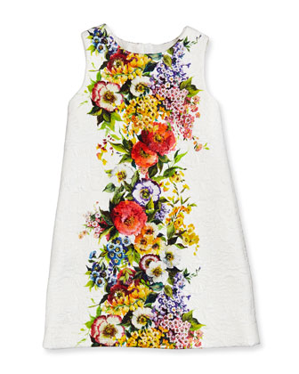 Floral-Print Matelasse Shift Dress, Girls' 4-6