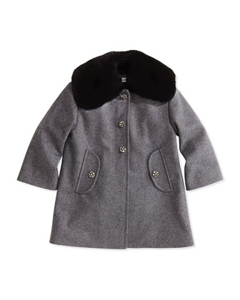 Crystal Flower-Button Fur-Collar Coat, Gray, Girls' Sizes 4-6