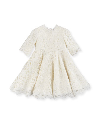 Guipure Lace Half-Sleeve Dress, Girls' 4-6