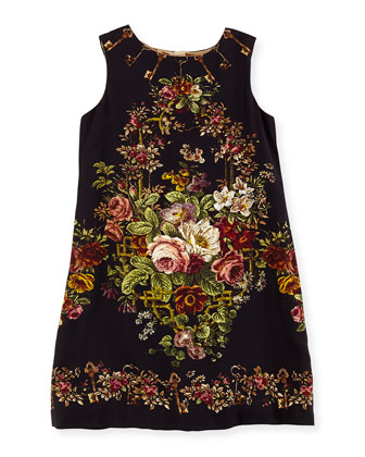 Rose Tapestry-Print Shift Dress, Girls' 8-12