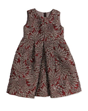 Floral Brocade Pleated Dress, Girls' 4-6