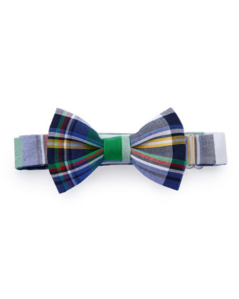 Plaid Baby Bow Tie, Green Multi