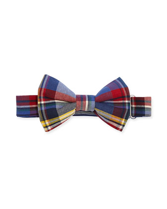 Plaid Bow Tie, Blue/Red