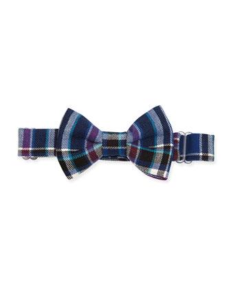 Plaid-Twill Bow Tie, Blue/Purple