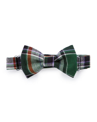 Plaid Baby Bow Tie, Green/Purple