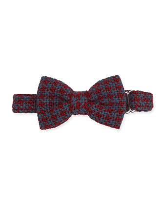 Textured Houndstooth Bow Tie, Red/Gray