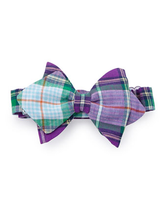 Plaid Baby Bow Tie, Purple