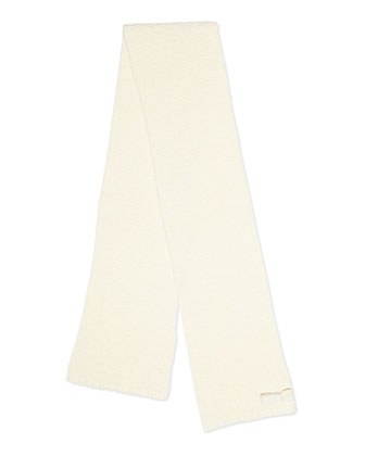 Girls' Knit Scarf with Bow, Ivory