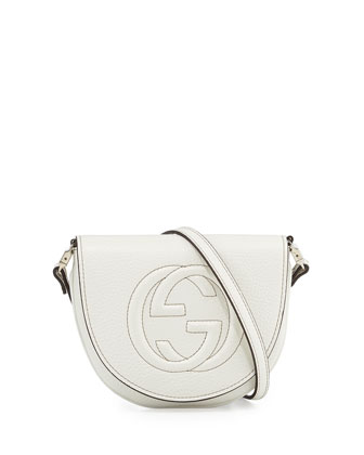 Interlocking G Leather Messenger Bag, White