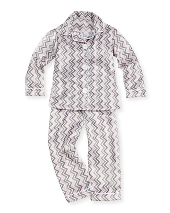 Chevron Pajama Set, Pink