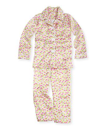 Dot-Print Satin Pajama Set, Hot Pink