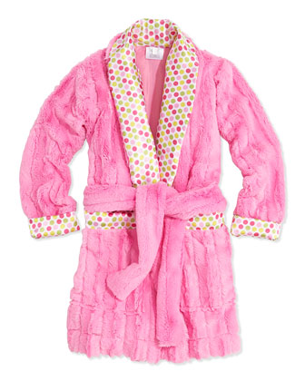 Plush Stripe Robe with Dot-Print Satin Trim