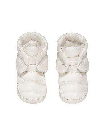 Quilted Nylon Baby Booties, Cream