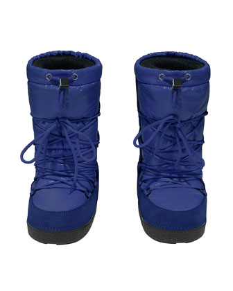 Tall Nylon Snow Boots, Blue