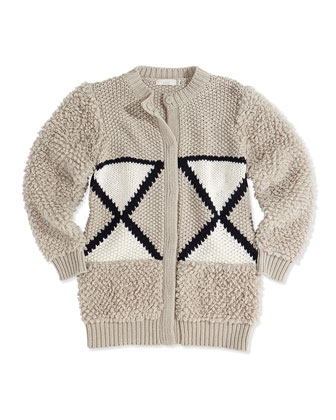 Knit Wool-Blend Cardigan, 2Y-14Y