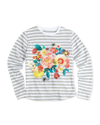 Floral-Print Striped Long-Sleeve Tee, Gray, 2Y-14Y