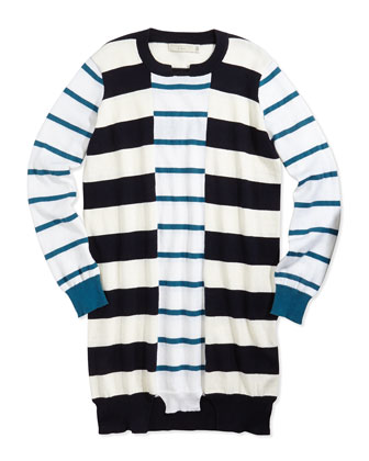 Striped Cotton/Cashmere Sweater Dress, 2Y-14Y