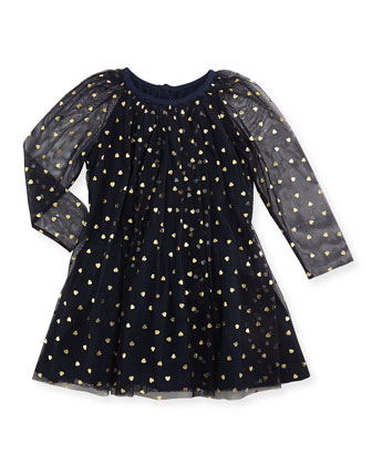 Tulle Heart-Print Dress, Navy