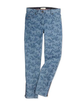 Horse-Print Denim Jeans, 2Y-14Y