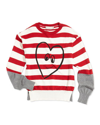 Striped Heart-Print Sweater, Red, 2Y-14Y