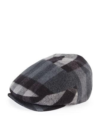 Child's Check Flannel Newsboy Cap, Charcoal