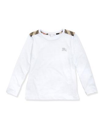 Check-Shoulder Long-Sleeve Tee, White, 4Y-10Y
