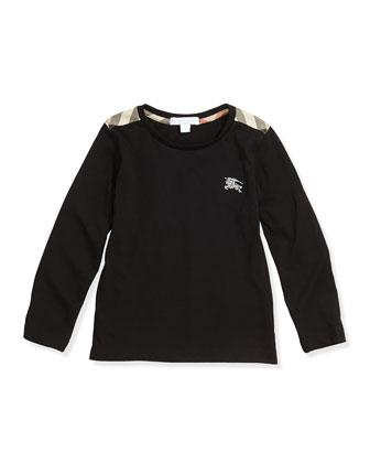 Check-Shoulder Long-Sleeve Tee, Black, 4Y-10Y