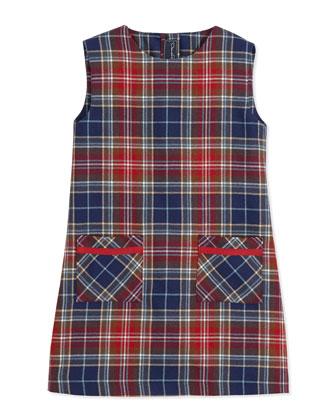 Plaid A-Line Pocket Dress, Red/Navy, 2Y-14Y