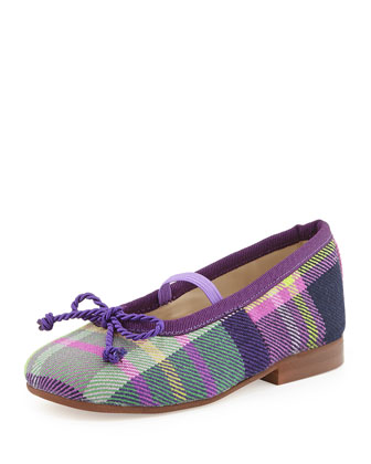 Girls' Plaid Sabrina Ballet Flats, Orchid