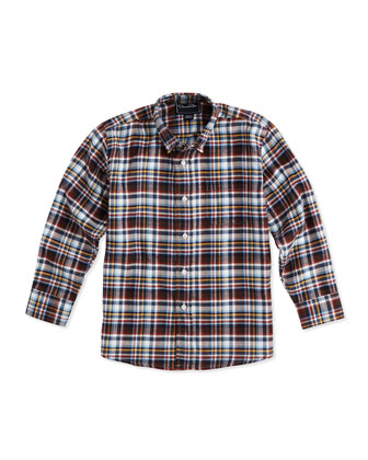 Kids' Plaid Button-Down Shirt, Navy/Multi