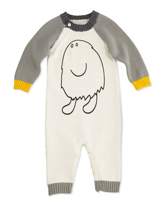 Monster Graphic Colorblock Knit Playsuit, 3-24 Months