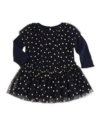 Tulle Heart-Print Dress, Navy, 3-24 Months