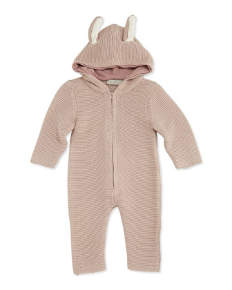 Hooded Knit Playsuit with Ears, Pink, 3-24 Months
