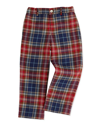 Classic Plaid Wool Pants, Navy/Red, 2Y-10Y