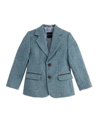 Tweed Two-Button Blazer, Teal, Boys' 2Y-10Y