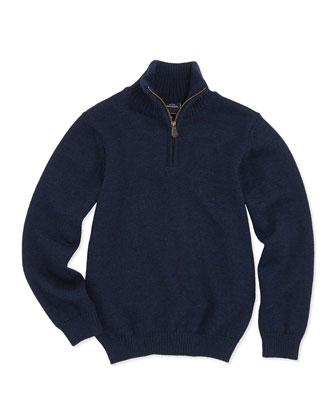Merino Half-Zip Sweater, Navy, Kids' 2Y-10Y