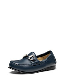 Boys' Leather Horsebit Loafer, Blue