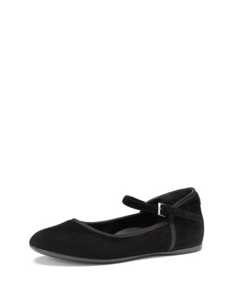 Girls' Suede Ballet Flat, Black, 10.5T-2Y