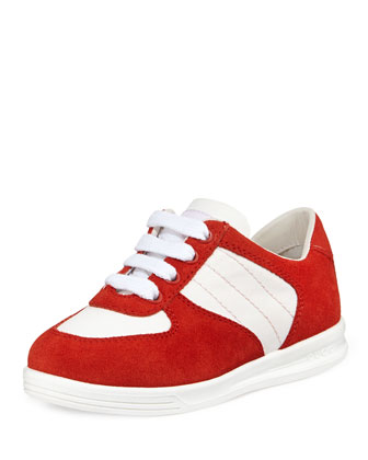 Canvas & Suede Sneakers, Toddler, Red/White