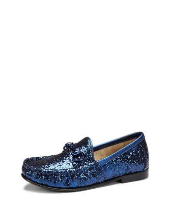 Boys' Glitter Horsebit Loafer, Blue