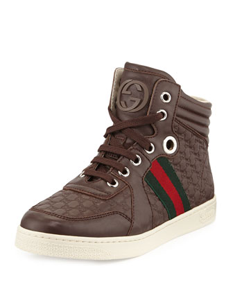 Junior Leather High-Top Sneaker, Brown