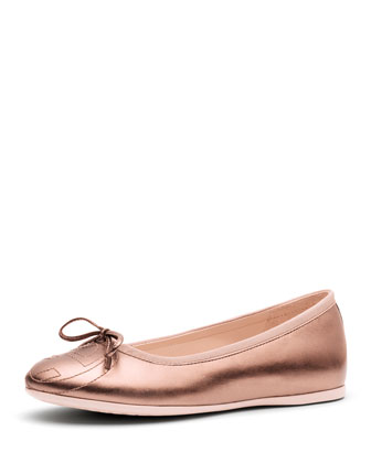 Junior Soho Leather Ballet Flat, Pink