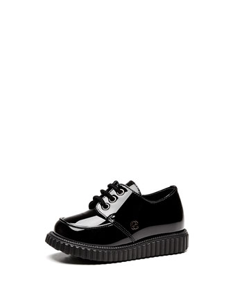 Toddler Patent Leather Lace-Up, Black