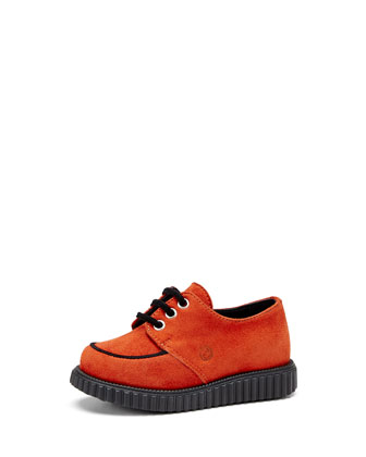 Toddler Kidskin Suede Lace-Up Shoe, Orange