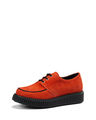 Junior Kidskin Suede Lace-Up Shoe, Orange