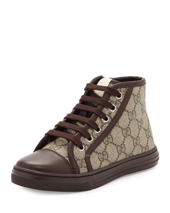 GG Supreme Canvas High-Top Sneaker, Brown, Kids' Sizes 10.5T- 2Y