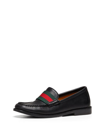 Junior Leather Loafer with Web Detail, Black