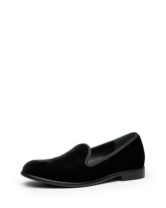 Junior Velvet Slip-On Loafer, Black