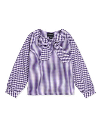 Check Cotton Bow Blouse, Violet, 2Y-14Y