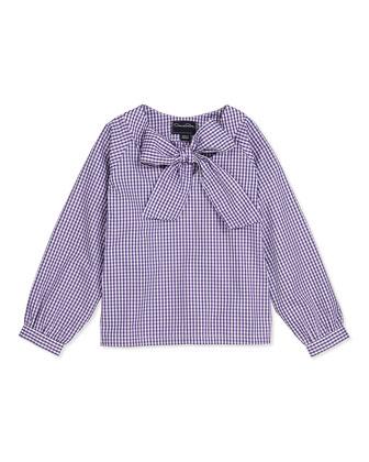 Check Cotton Bow Blouse, Violet, 2Y-14Y